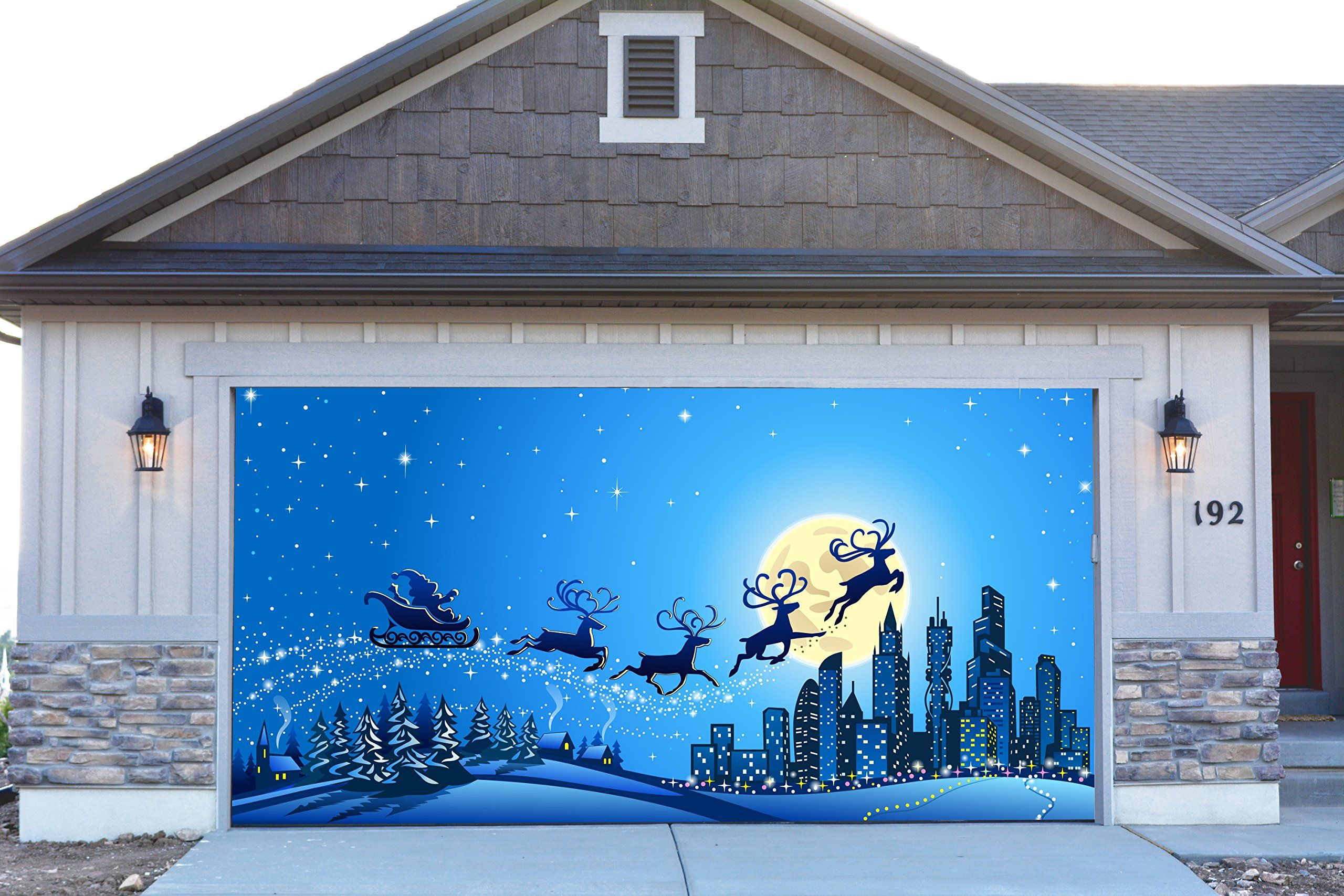 Outdoor Wall Christmas Decorations 3d Garage Door Covers Christmas Decorations Outdoor Wall
