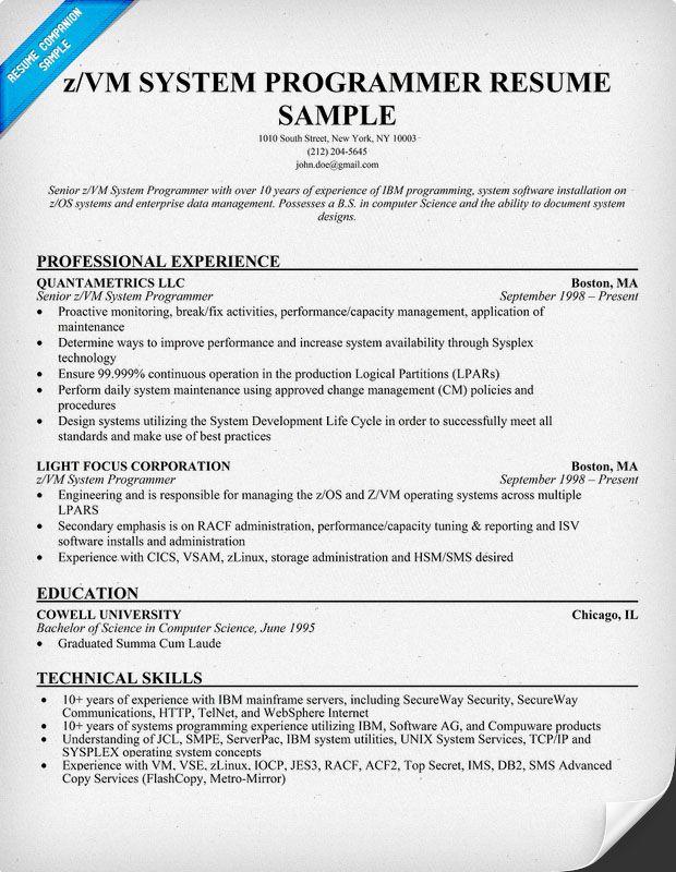 Sample of a Z Vm System #Programmer Resume Format (resumecompanion - system programmer job description