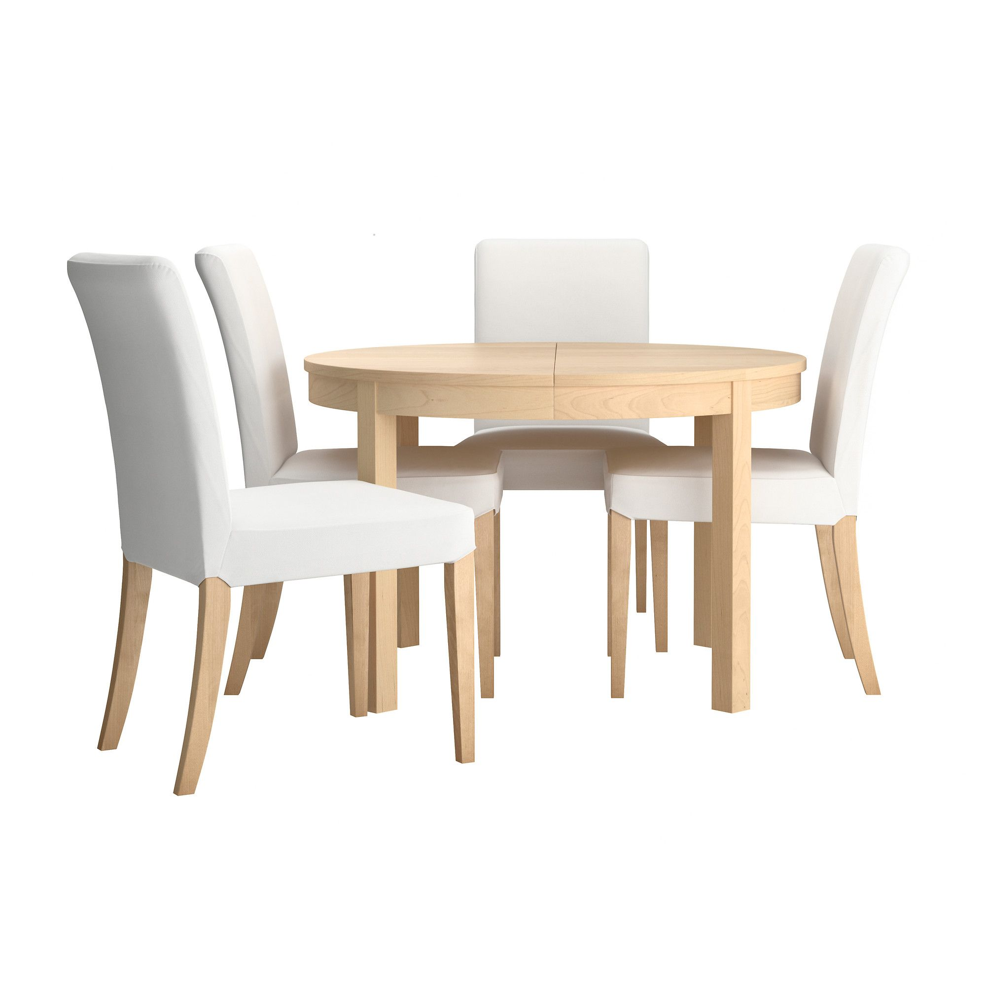 Extendable Dining Table Ikea Bjursta/henriksdal Table And 4 Chairs - Gobo White, Birch