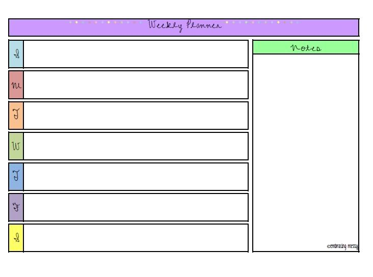 Free Printable Friday} Weekly Planner Organize ME Pinterest - free printable weekly planner