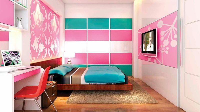 Jugendzimmermöbel Mädchen - Türkis und Pink kombinieren - kinderzimmer gestalten madchen