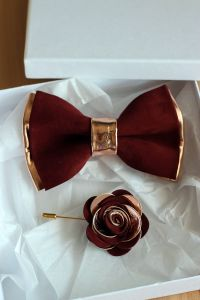 Rose Gold and burgundy leather bow tie for men, rose gold ...