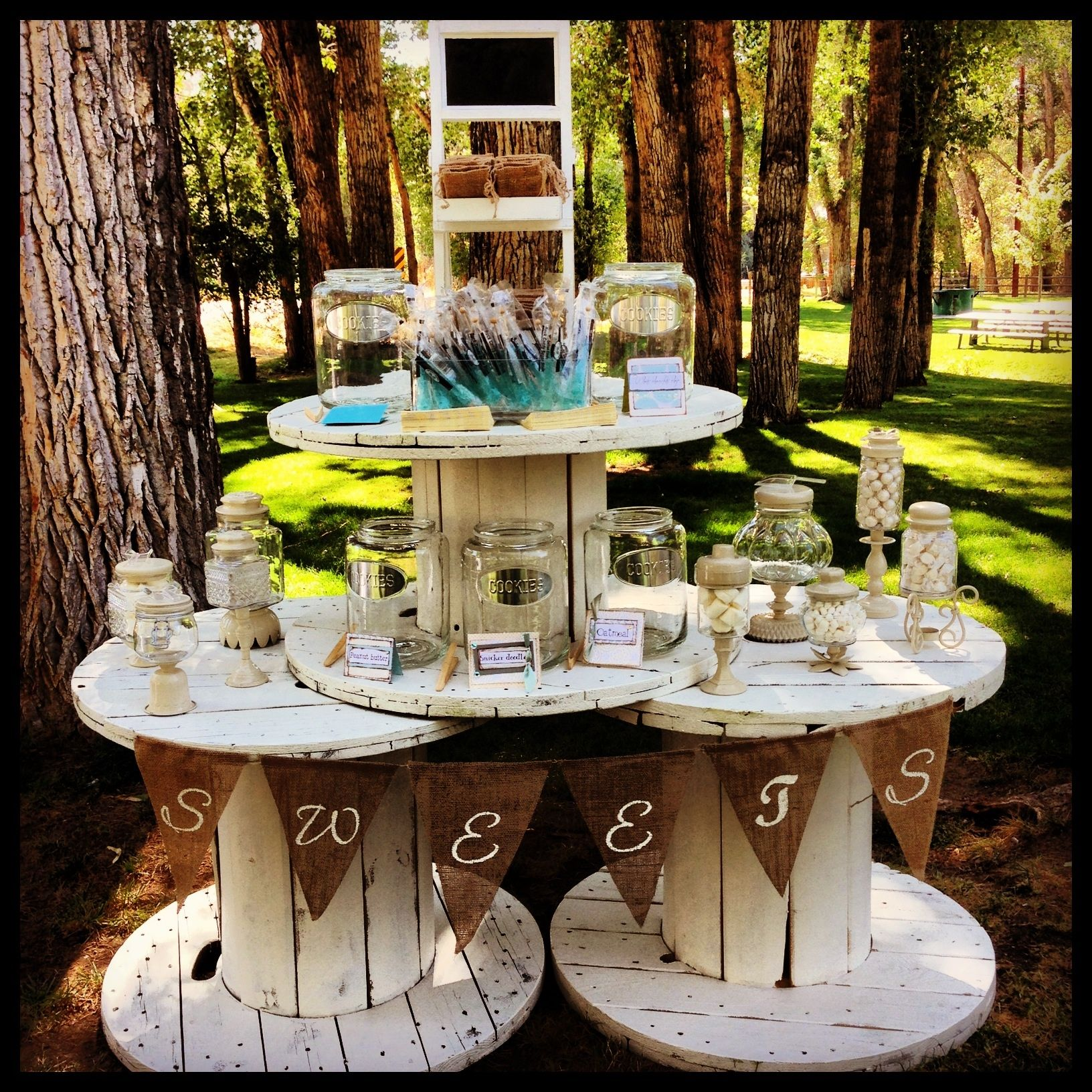 Rustic Buffet Table Setting The Candy Buffet I Did For Stacy 39s Wedding Brag Board