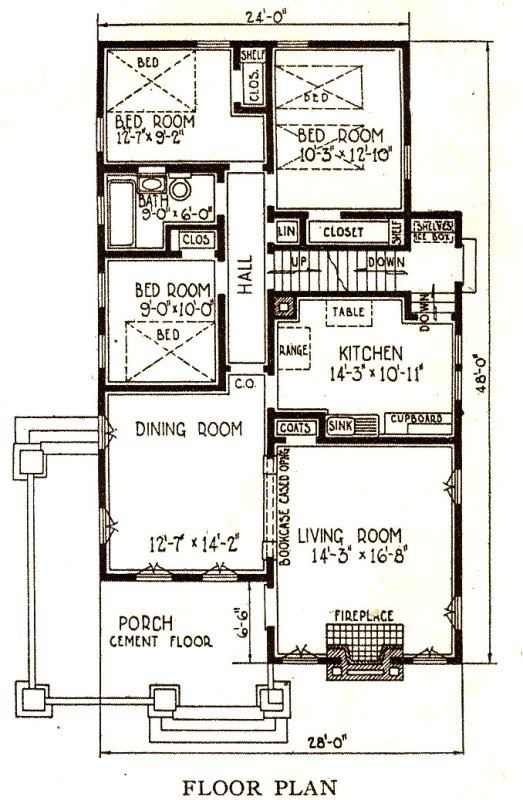 Sears Avalon Floor Plan Homes By Mail Pinterest Bungalow - bungalow floor plans