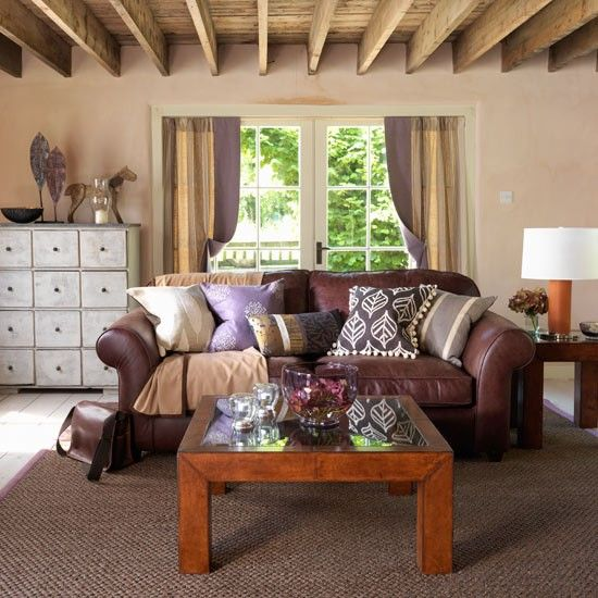 Country Style decorating Living room decorating ideas, Room - brown leather couch living room