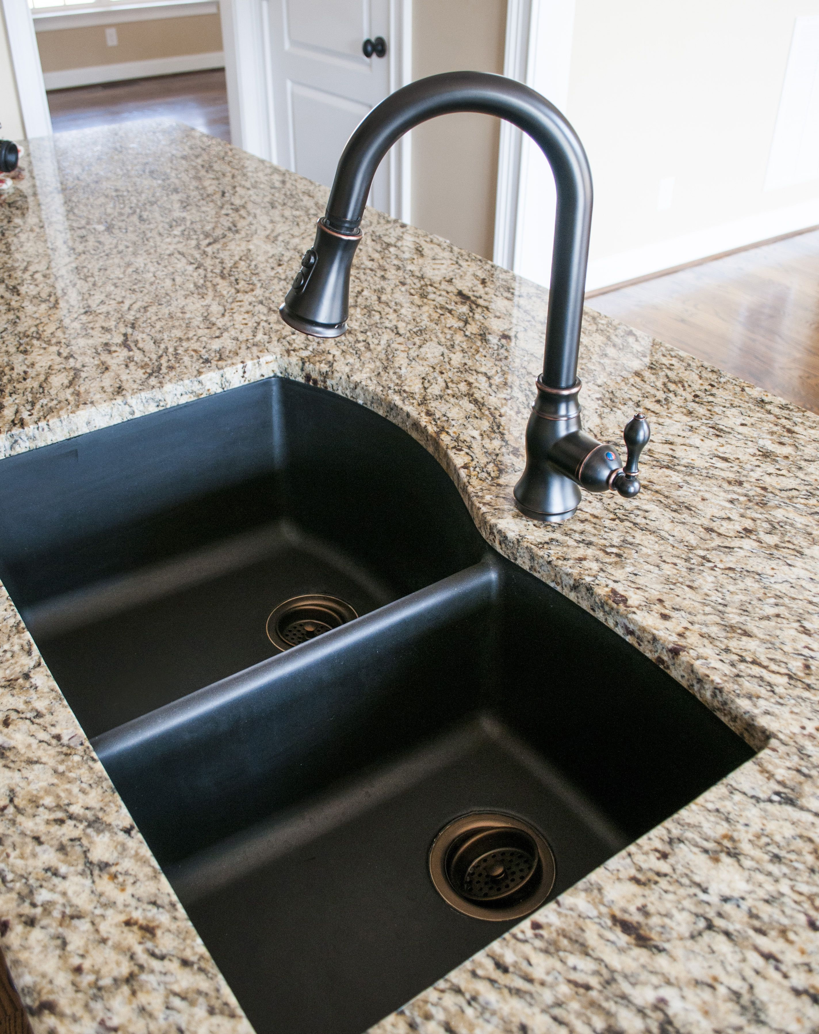 Kitchen Faucets For Granite Countertops Black Granite Composite Sink With Kohler Oil Rubbed Bronze