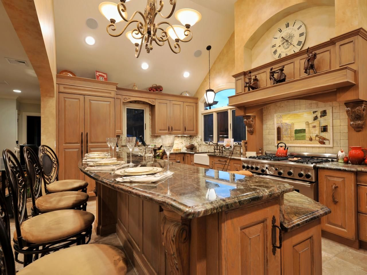 Granite Kitchen Islands A Two Tiered Kitchen Island With Granite Countertops
