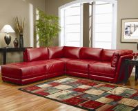 Warm Red Leather Sectional L Shaped Sofa Design Ideas for ...