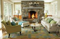 Traditional Living Room Ideas with Stone Fireplace ...