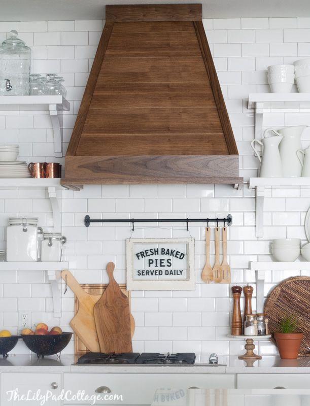 White Kitchen with wood range hood Home Kitchen Pinterest - kitchen hood ideas