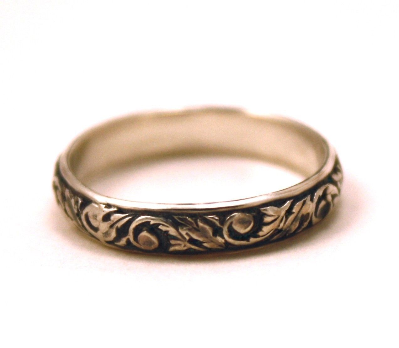 engraved wedding bands Victorian Wedding Band Oxidized Scroll Sterling Silver FREE ENGRAVING womens single band