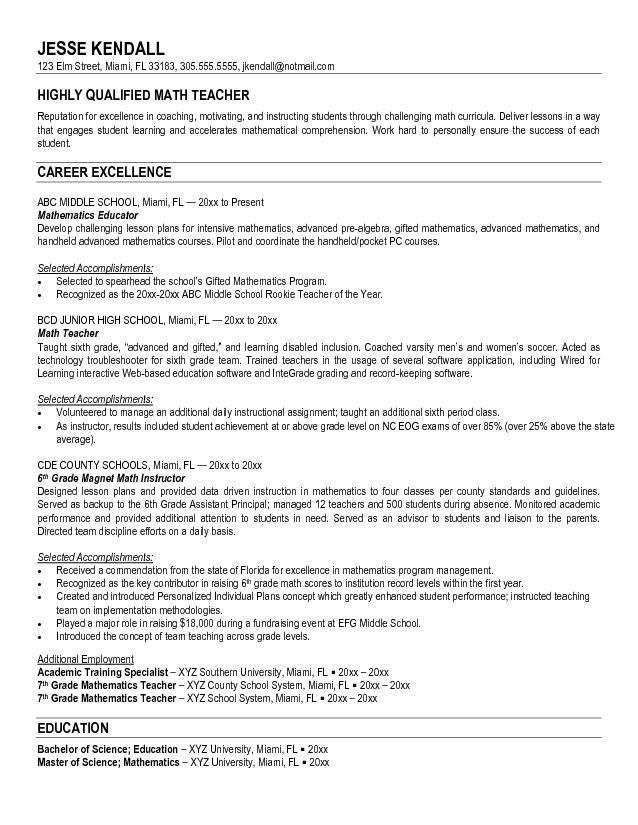 teacher sample resume
