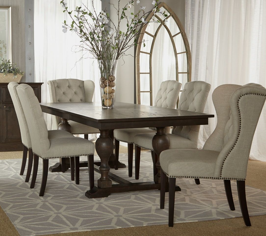 Astor trestle extension dining table 96 dining table designextension dining tabletufted chairwingback