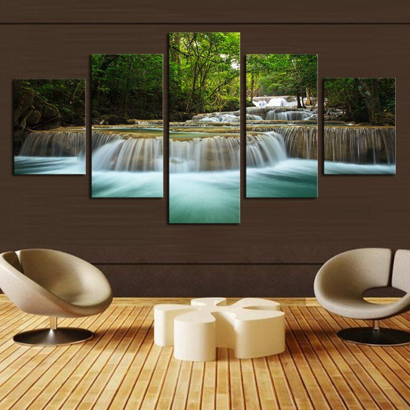5 Panel Unique Waterfall Painting Wall Art Canvas for Home - living room art decor