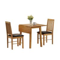 Dining Table and 2 Chairs Set - 2 Seater Drop Leaf Set ...