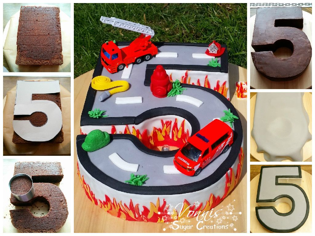 Kuchen Kinder Junge Birthday Cake Boy Number Fondant Fire Roadtruck