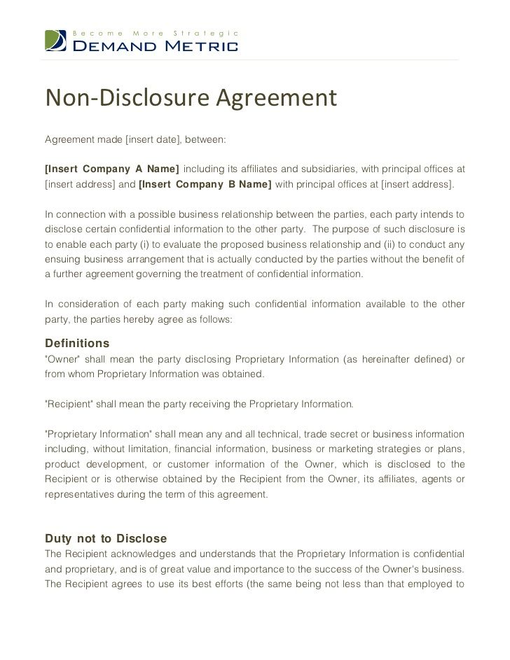 Printable Sample Non Disclosure Agreement Sample Form Real - free business bill of sale template