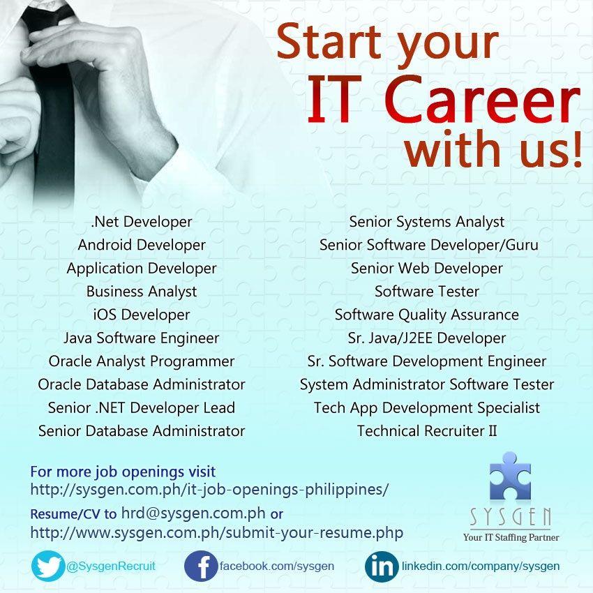 Programmer Job Description Start Your It Career With Us Visit Httpsysgenph    Database Developer Job Description