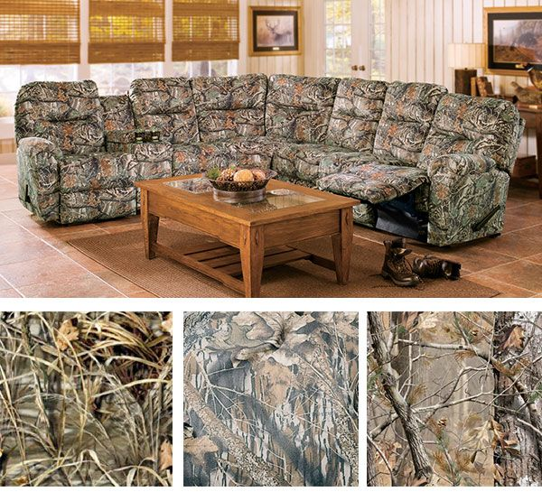 For the passionate outdoors family, this camo sectional will seat - camo living room furniture