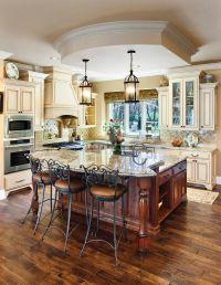 black island cream cabinets | Cream Colored Kitchen ...