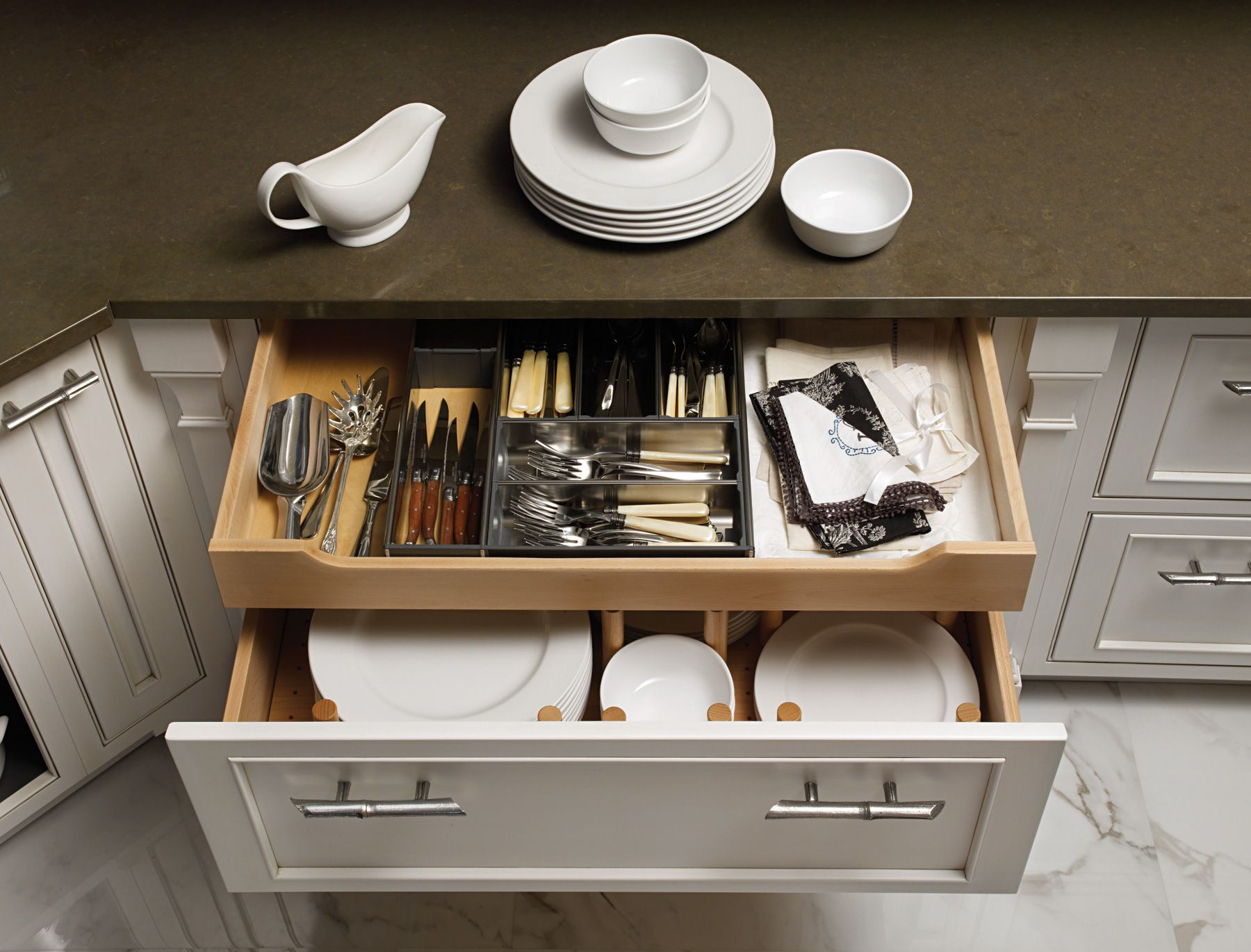 Kitchen Cabinet Drawer Organizers Clever Storage Behind A Deep Drawer Front Is Tucked A 4