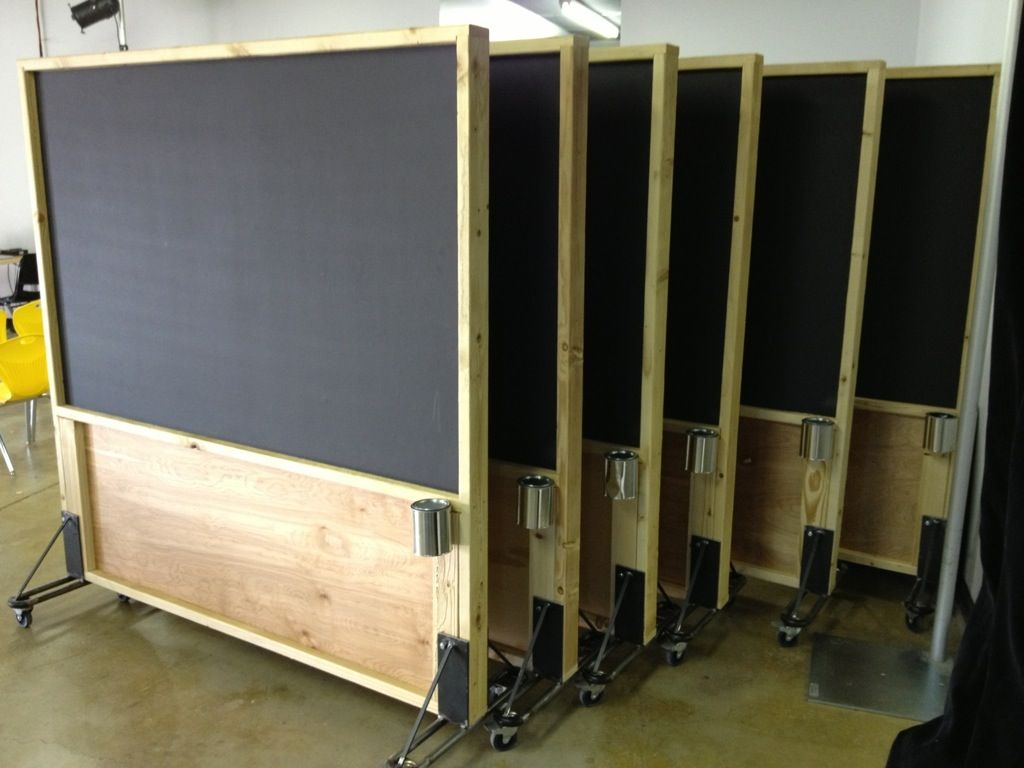 Movable Wooden Partition Rolling Distressed Wood Magnetic Chalkboard Partitions
