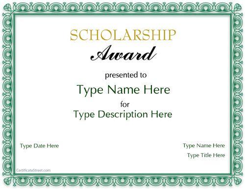 Special Certificate - Scholarship Award CertificateStreet - sample scholarship certificate