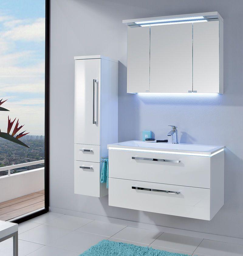 Puris Badmöbel STARLINE 06 Polarweiß Hochglanz 90 cm LED - badezimmer 90 cm