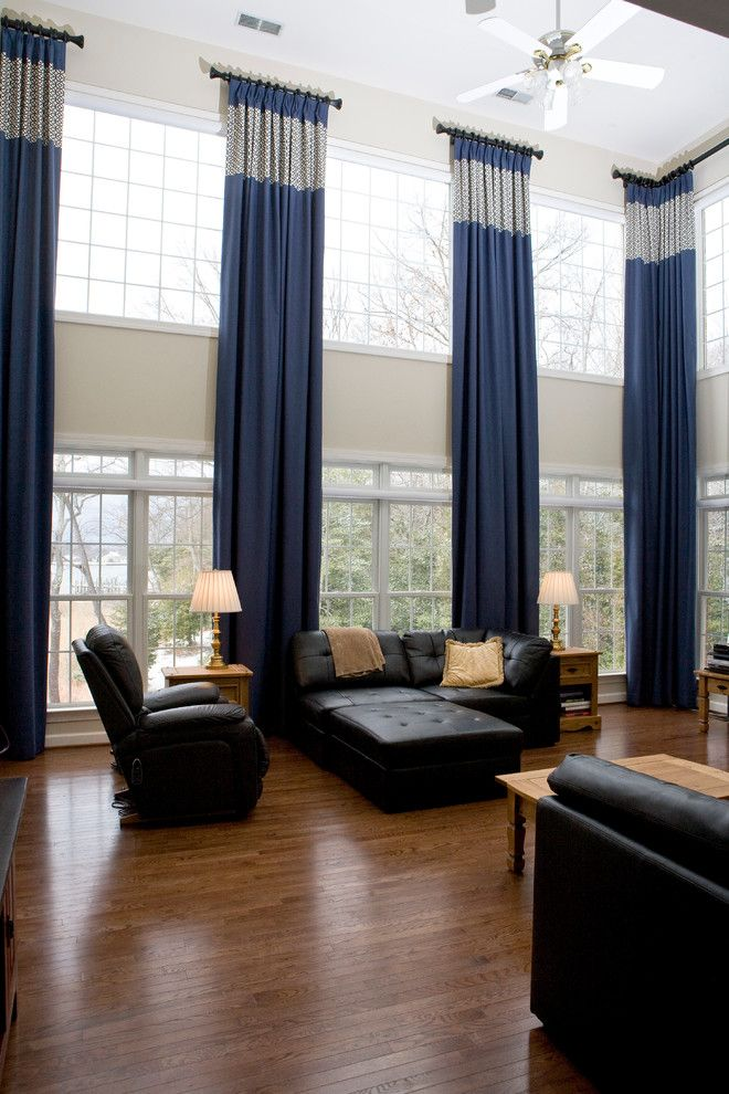 Two story draperies with attached silk French Flip valance, fringe - modern valances for living room