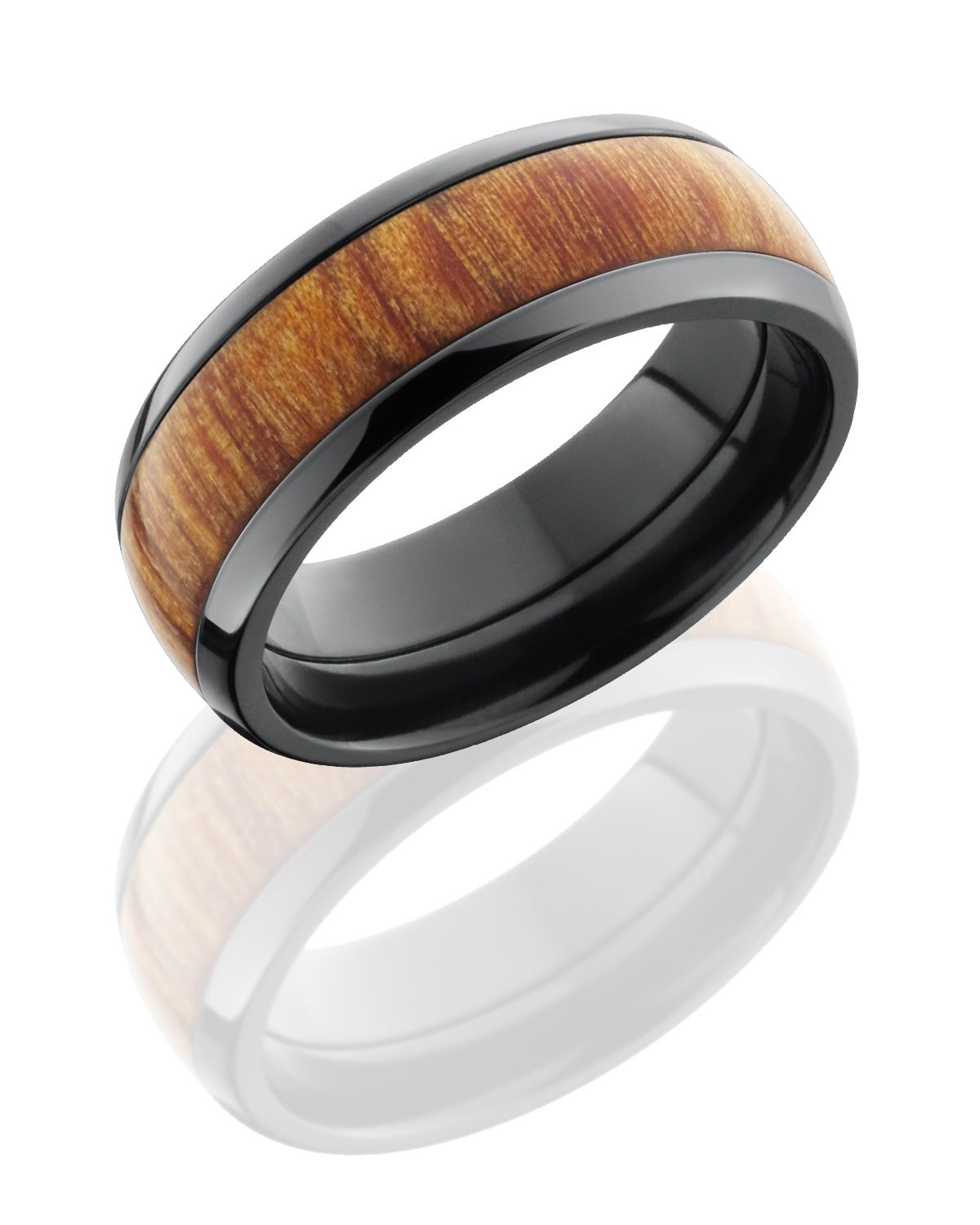 wooden wedding rings Rings Wooden Rings Fiji Orange Wood Inlay