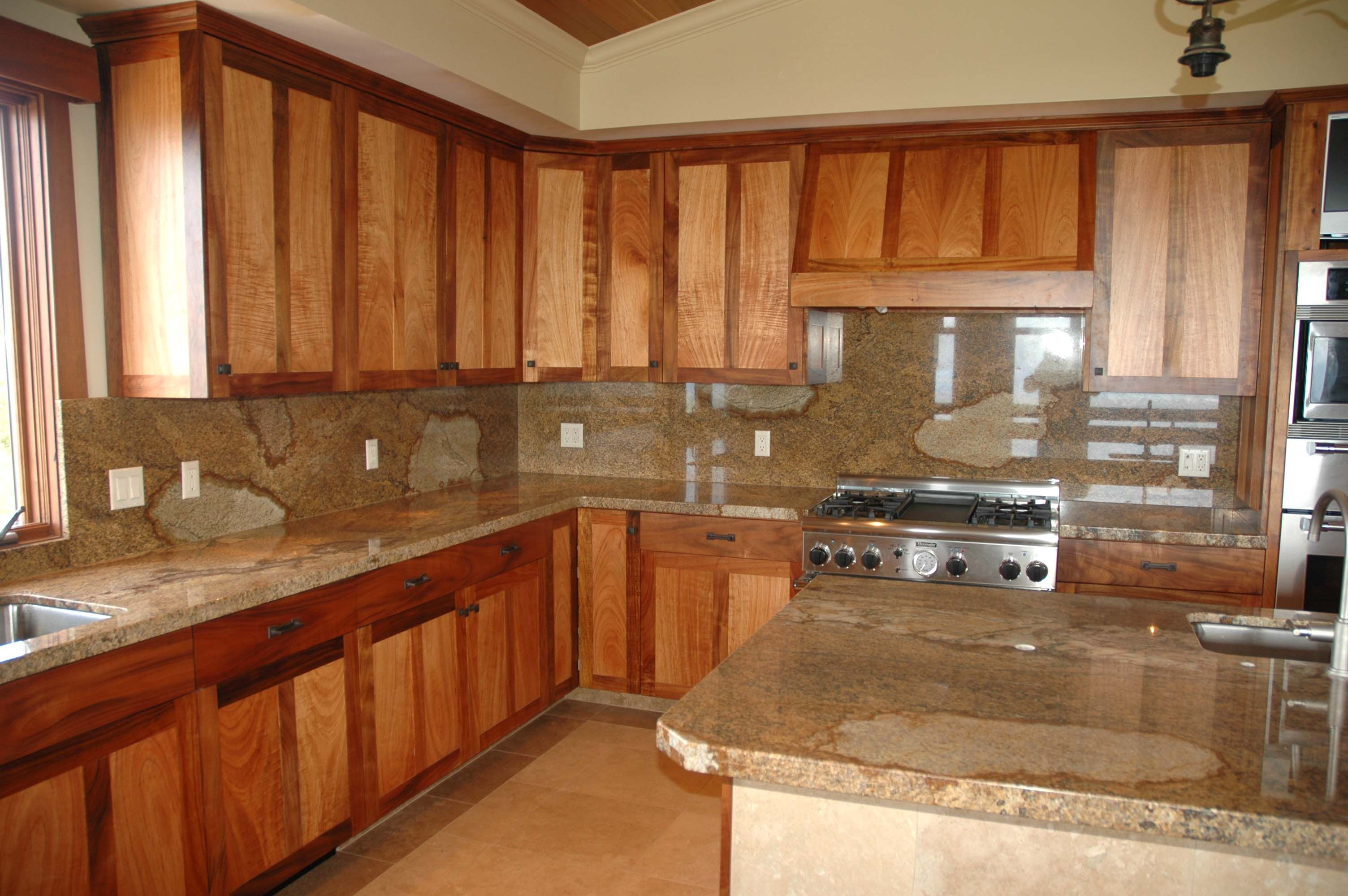 Koa Wood Kitchen Cabinets Custom Cabinets | Custom Koa Kitchen In Kula, Maui, Hawaii