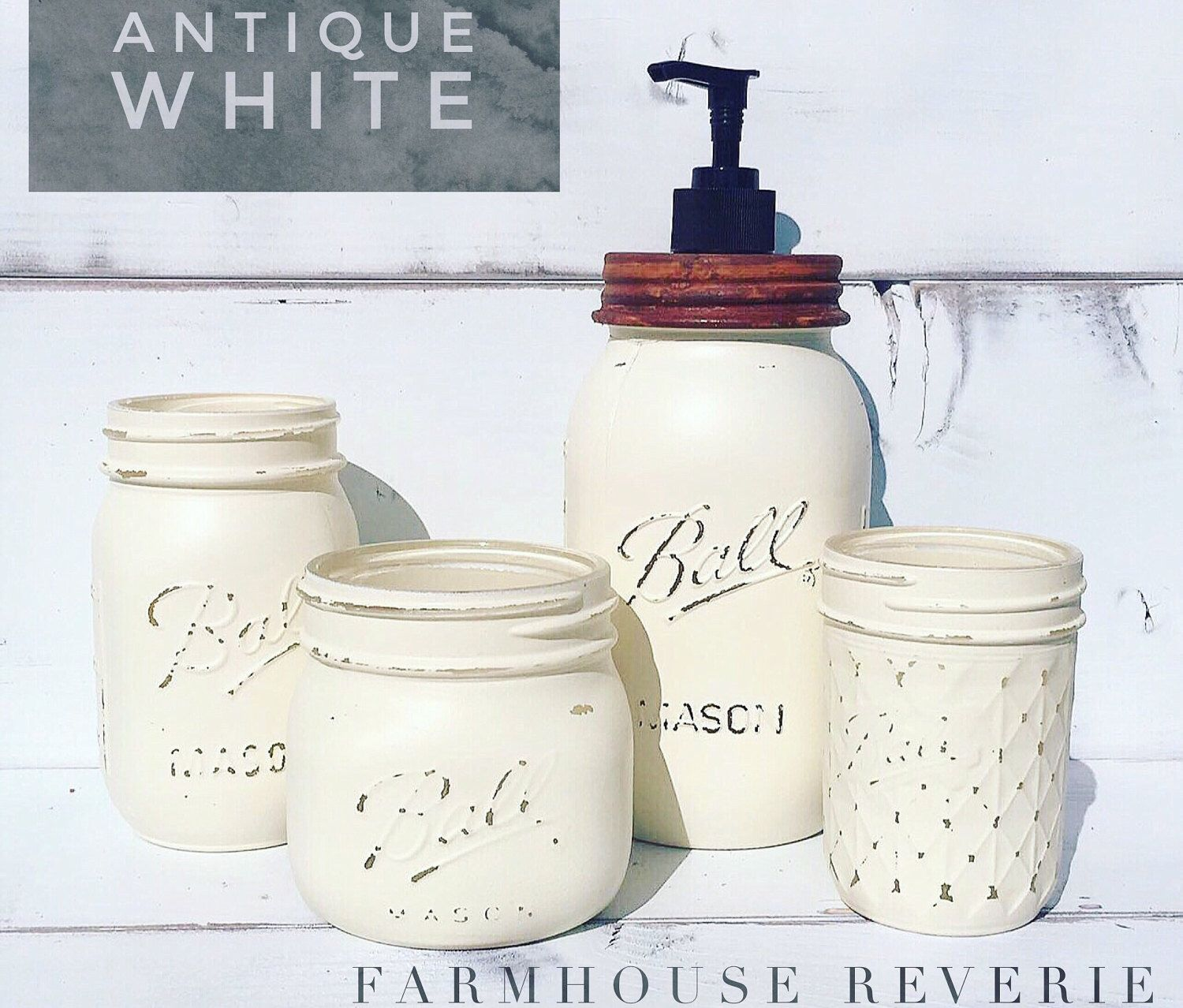 Vintage Bathroom Soap Dispenser Antique White Rustic Farmhouse Bathroom Set Primitive