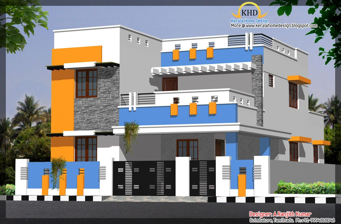 Elevation kerala style front elevation exterior elevation designs -  Kerala Style Front Modern Elevation Design Of Residential Download