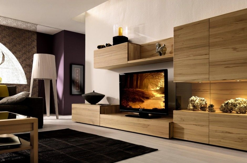 Furniture \ Accessories Light Wood Media Center With Wall Unit - designer wall unit