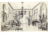 Sketch of drawing room and French chandelier. Pen and ...