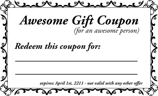 Printable Gift Coupon Templates - For Birthdays for any Occassion - blank vouchers template
