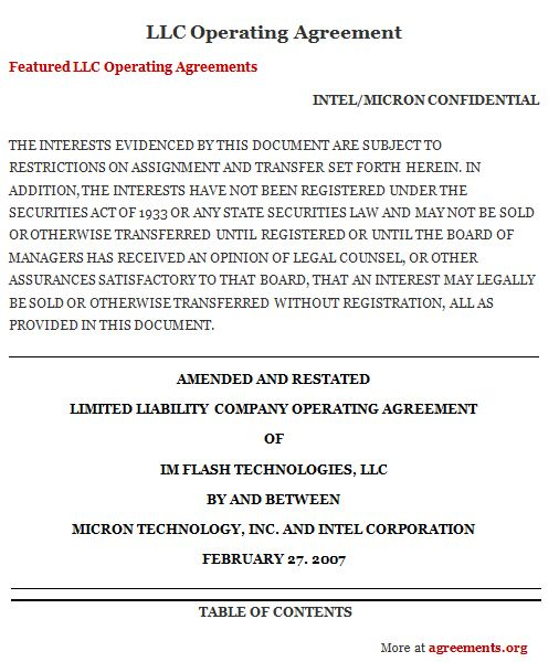 LLC Operating Agreement, Sample LLC Operating Agreement Template - partnership agreement free template