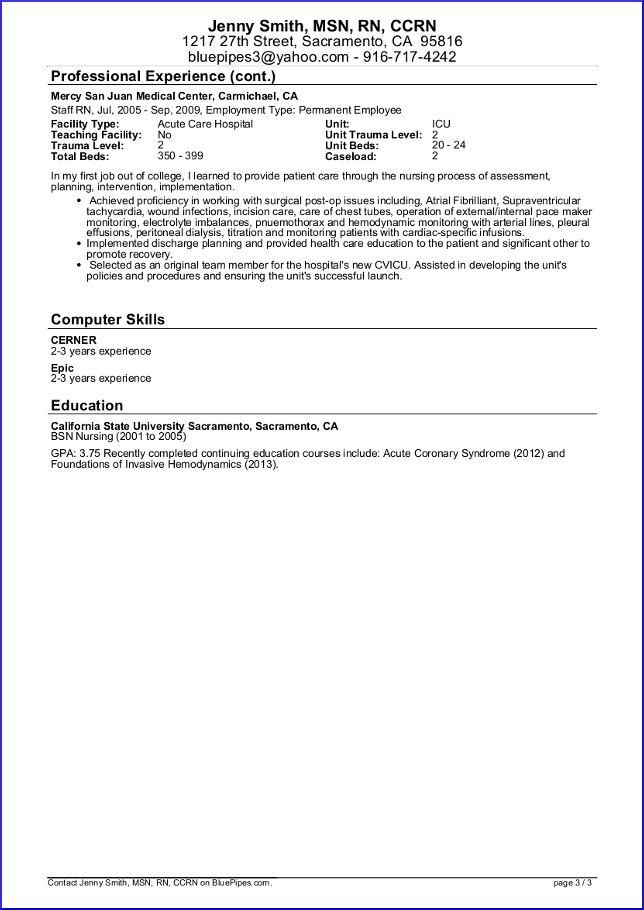 sample travle nurse resume
