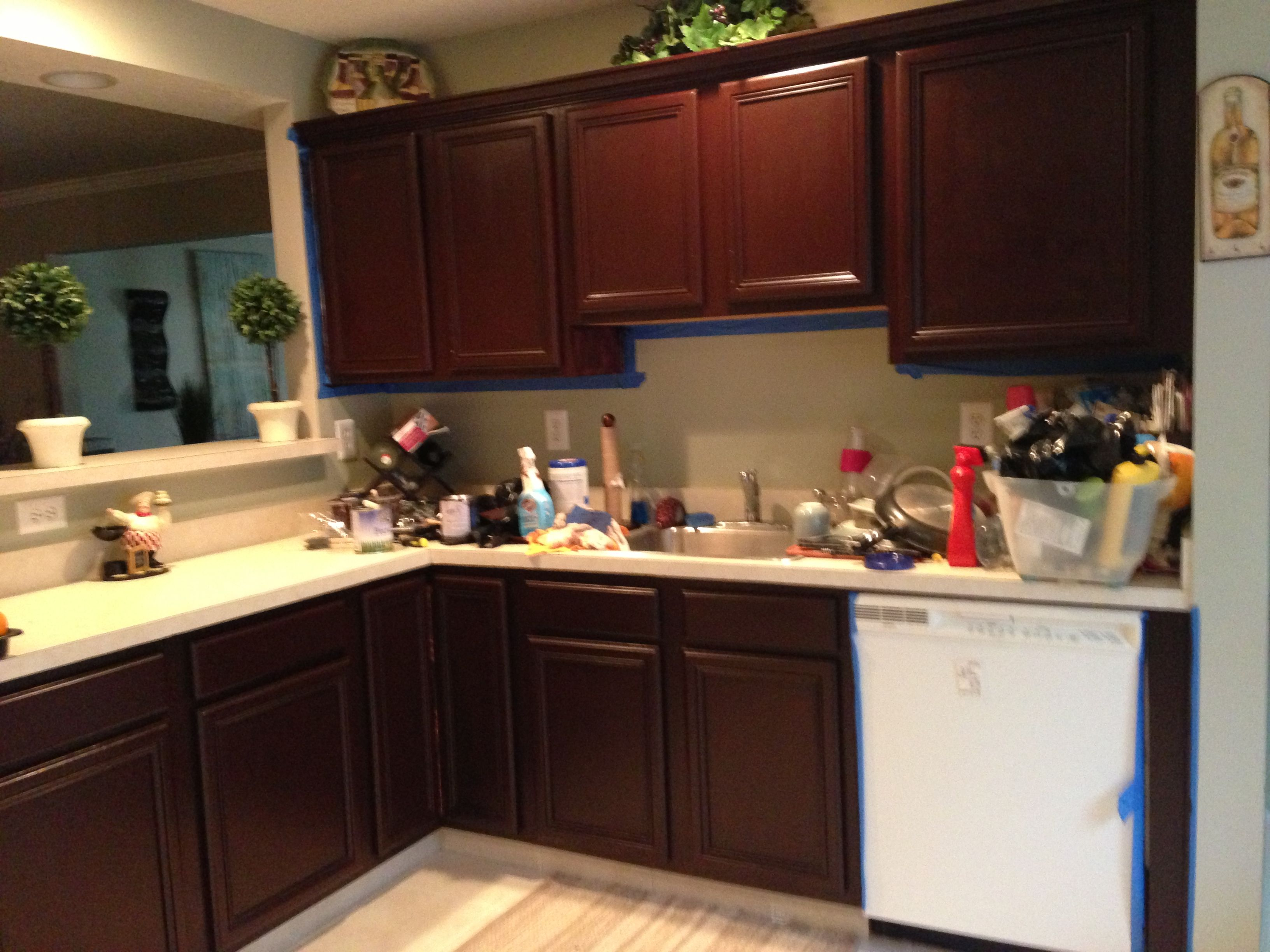 general finishes java gel stain kitchen cabinets gel stain kitchen cabinets Honey Oak Kitchen Restained Using General Finishes Brown Mahogany