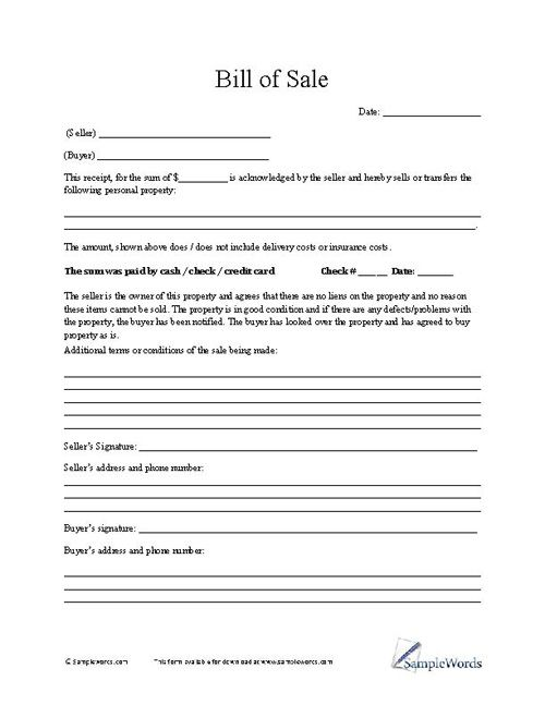 Bill of Sale Form Free printable and Craft - free business bill of sale template