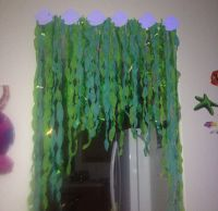 Seaweed decor for under the sea party made by twisting ...