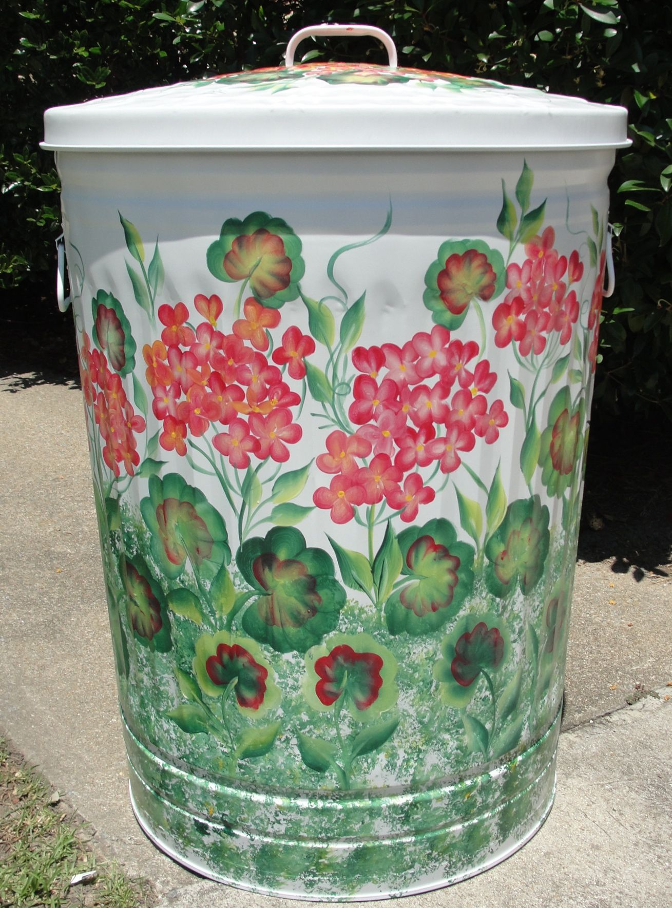 Attractive Trash Cans Hand Painted Geraniums Metal Trash Can Great For A
