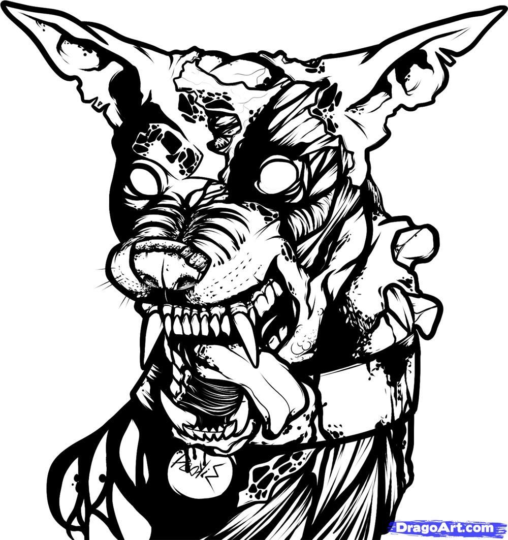 Zombie drawings how to draw a zombie dog zombie dog step 9