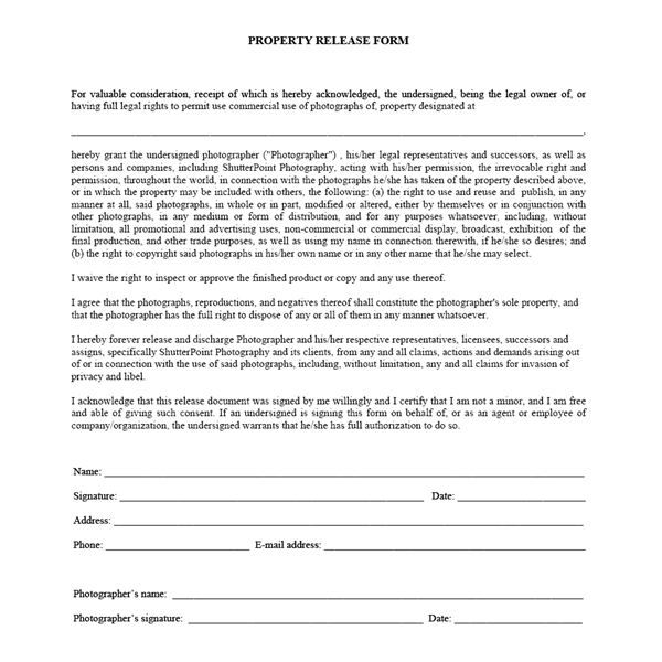 Photography Contract Template This contract is customised for - generic photo release form
