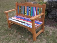 Classy Garden Style Bench made with recycled skis. New