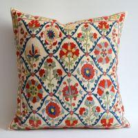 Sukan / Vintage Hand Embroidered Silk Suzani Pillow ...