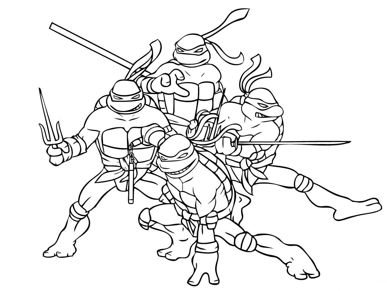 Download and print superhero coloring page ninja turtle free