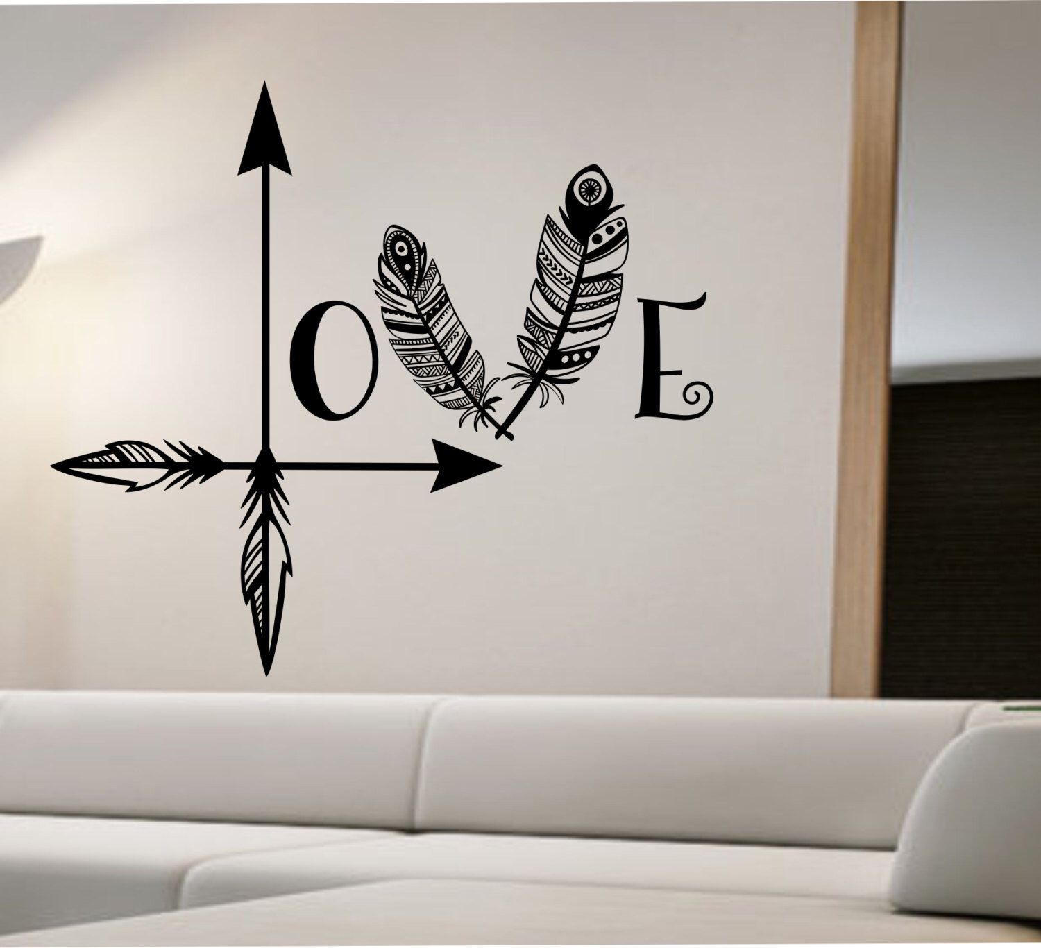 Vinyl Wall Decal Arrow Feather Love Wall Decal Namaste Vinyl Sticker Art