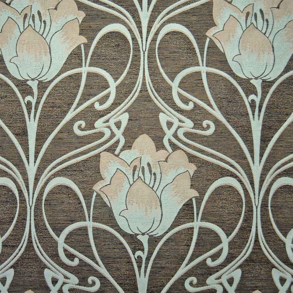 Art nouveau teal french lily a bronze and teal flat weave curtain and upholstery fabric suitable for all furnishings free samples and delivery from loome