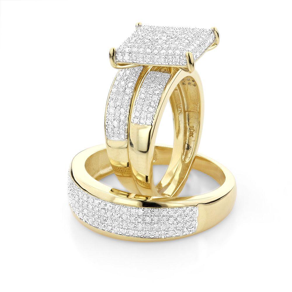 trio wedding rings Affordable Trio Ring Sets Diamond Wedding Ring Set 1 25ct 10K Gold